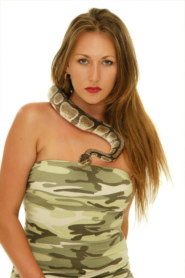妇女和蛇 库存照片