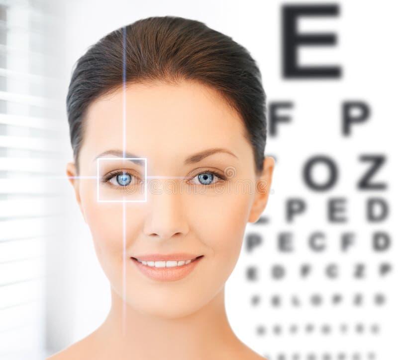 妇女和视力检查表 免版税库存照片