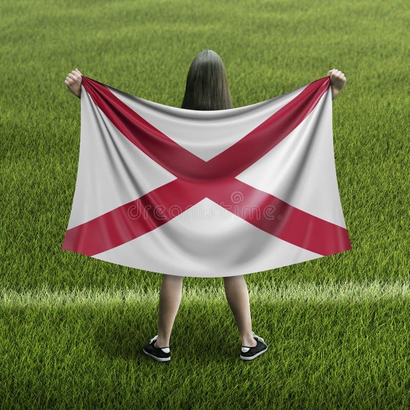 妇女和阿拉巴马旗子 向量例证