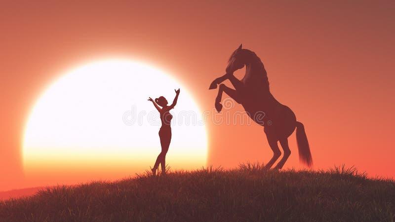 妇女和马 向量例证
