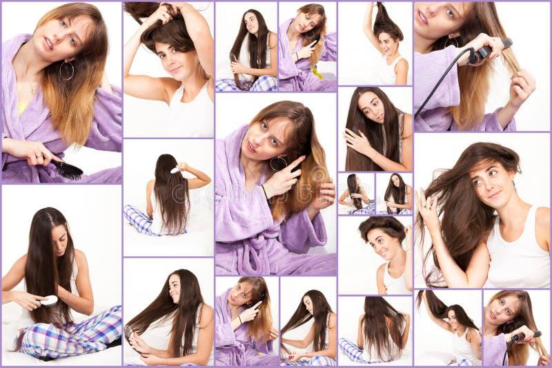 妇女和他们的头发 免版税库存图片