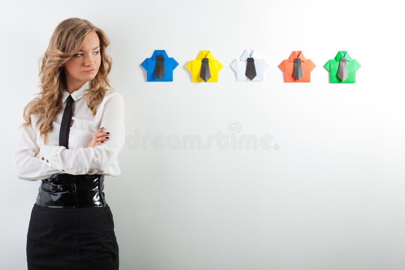 妇女和origami衬衣 库存照片