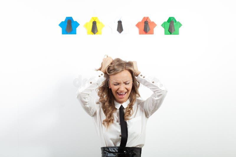 妇女和origami衬衣 库存图片