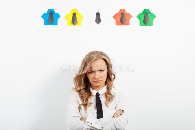 妇女和origami衬衣 图库摄影