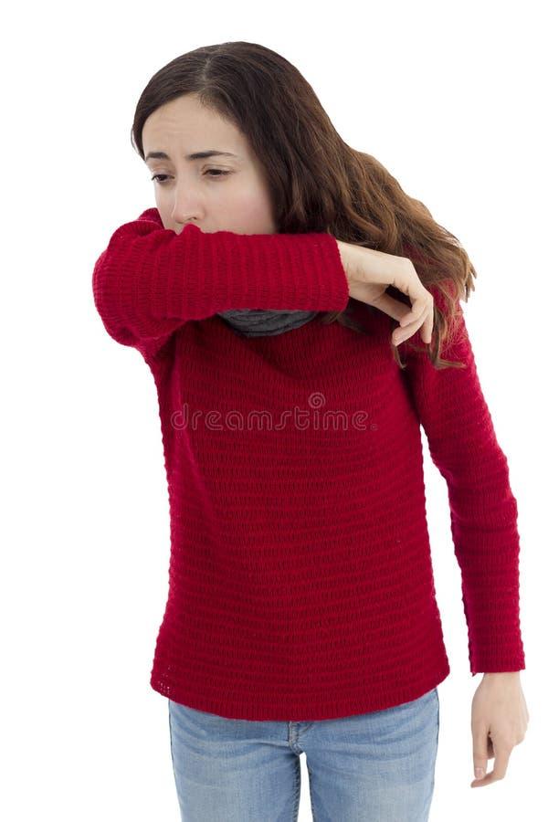 妇女咳嗽 图库摄影