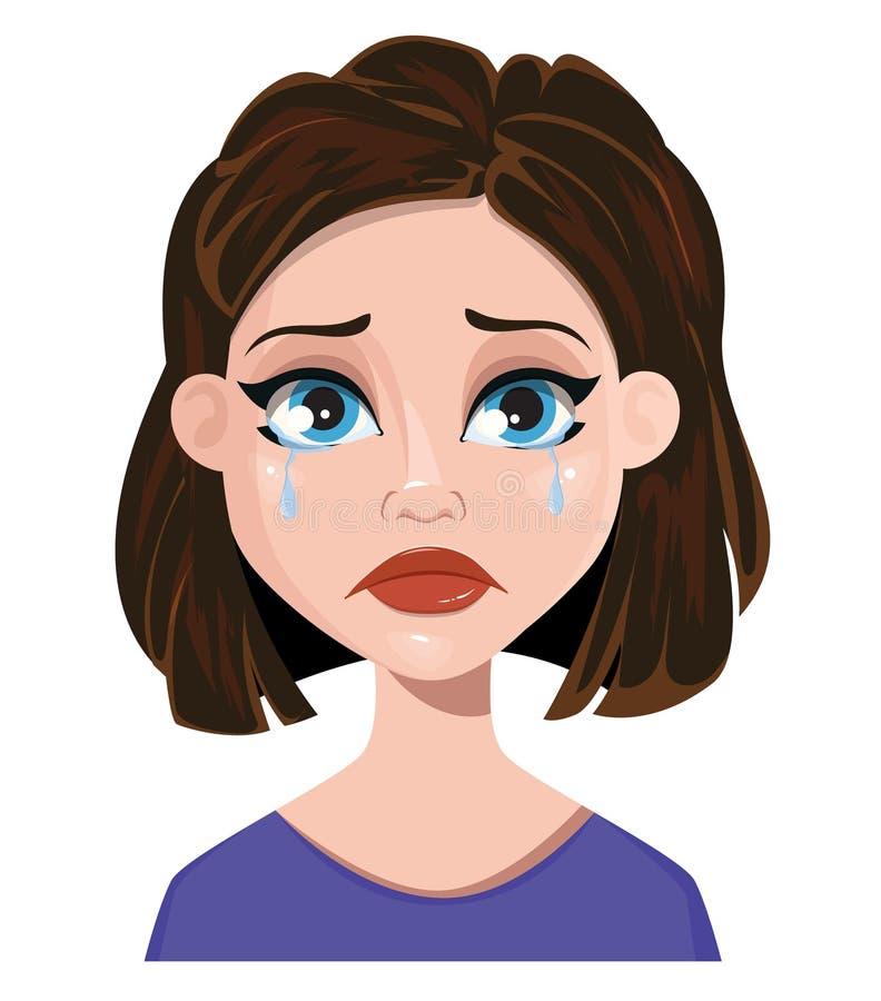 妇女哭泣 女性情感,面孔表示 逗人喜爱的动画片炭灰 向量例证