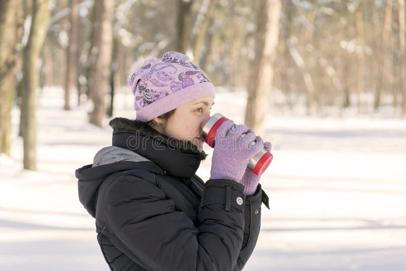 妇女喝茶在杯子外面 冬天一件红色温暖的夹克的森林年轻人有在多雪的背景的被编织的帽子和围巾身分的 库存图片