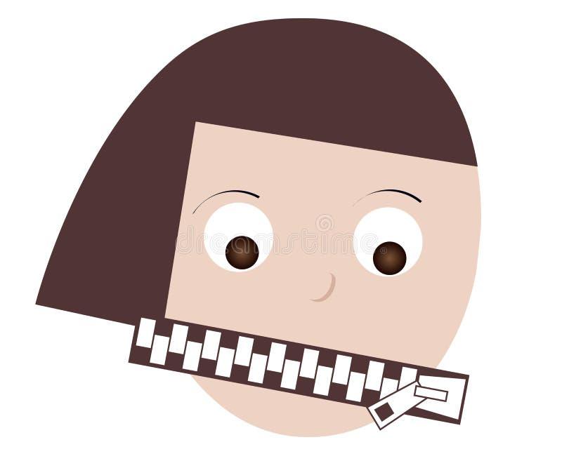妇女嘴被关闭被关闭的拉链 有限的表示,沈默,匿名的概念 皇族释放例证