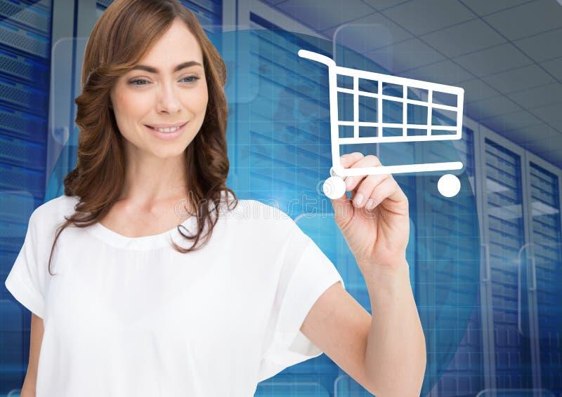 妇女图画在屏幕上的购物车标志反对服务器室在背景中 向量例证