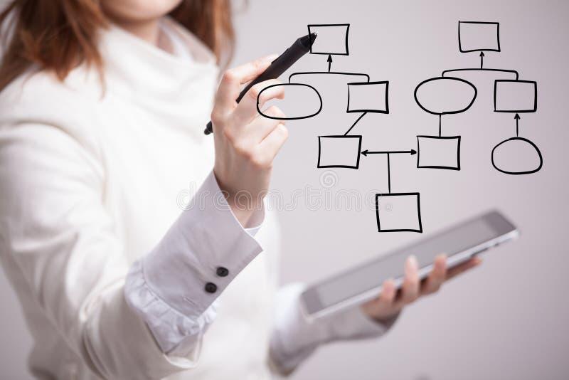 妇女图画流程图,商业运作概念 免版税库存照片