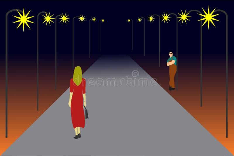 妇女在一条偏僻的路走 有看她的人 向量例证