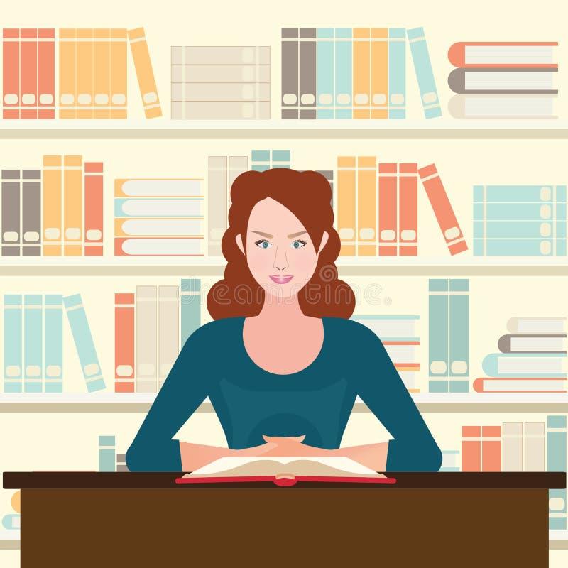 妇女在书桌上的阅读书 皇族释放例证