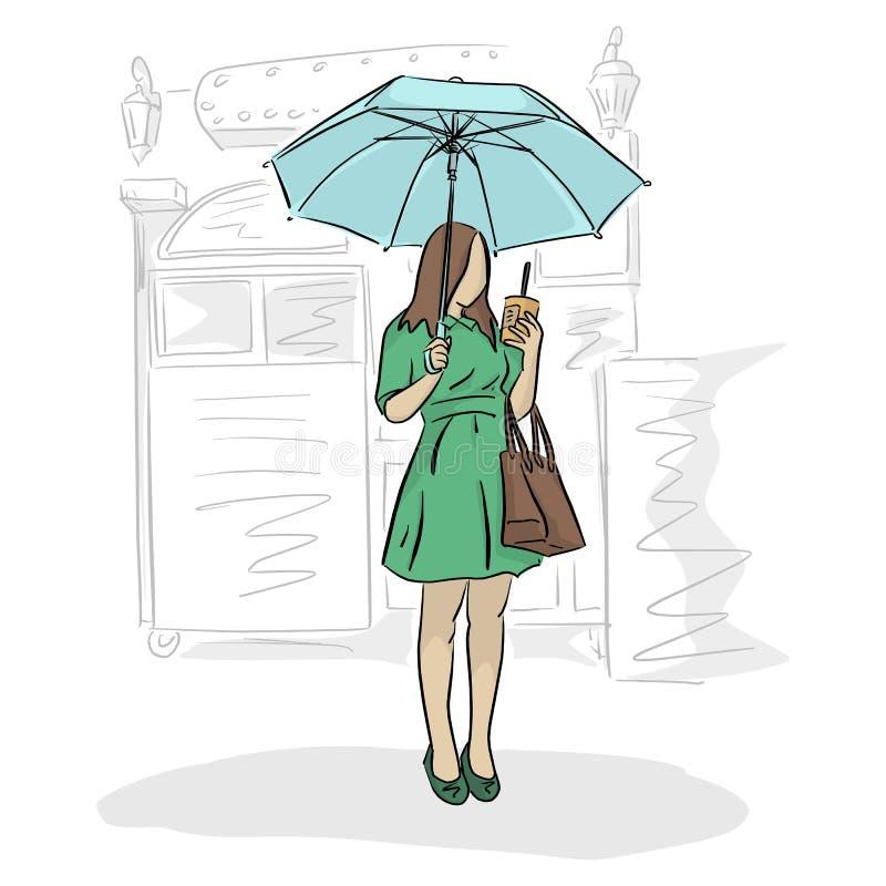 妇女在伞和咖啡下在她的手上有咖啡馆传染媒介例证的与在白色背景隔绝的黑线 库存例证