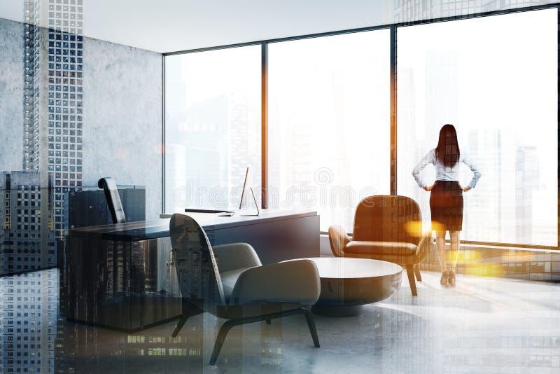 妇女在全景CEO办公室 库存照片