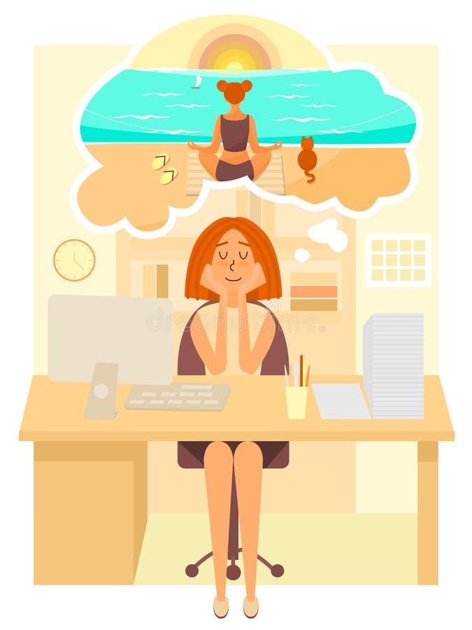妇女在办公室和梦想工作关于去暑假海滩 作梦关于凝思的女孩在 库存例证