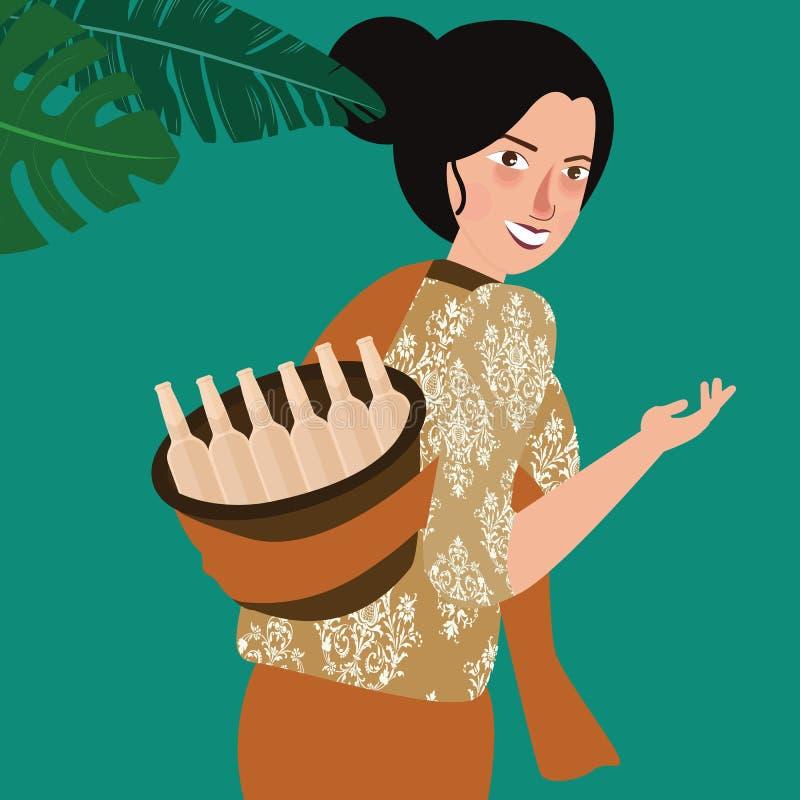 妇女在印度尼西亚带来传统饮料 皇族释放例证