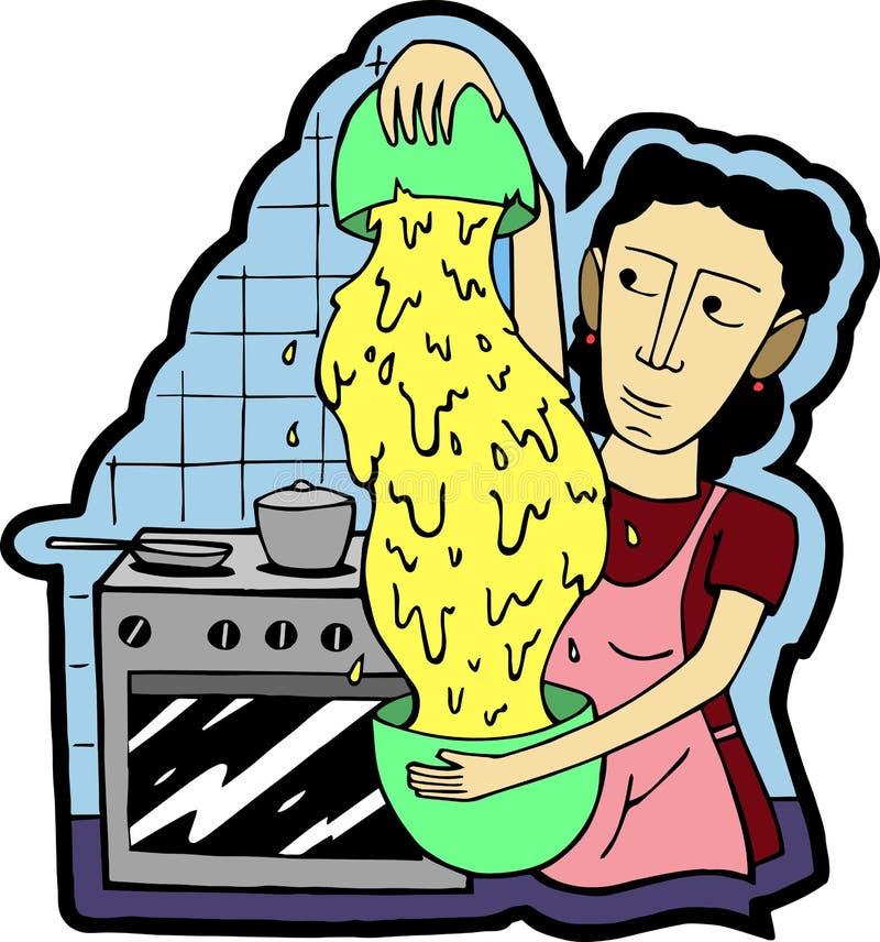 妇女在厨房里准备晚餐 免版税库存图片