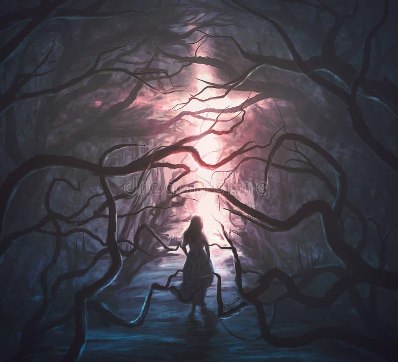 妇女在可怕森林里 皇族释放例证