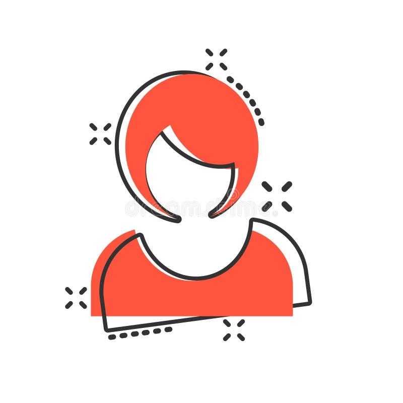 妇女在可笑的样式的标志象 在白色被隔绝的背景的女性具体化传染媒介动画片例证 女孩面孔企业概念 库存例证