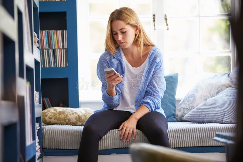 妇女在家坐长沙发使用手机 免版税库存照片