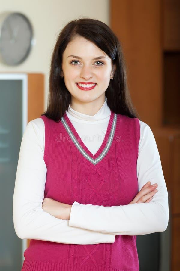 妇女在家或办公室 免版税库存图片
