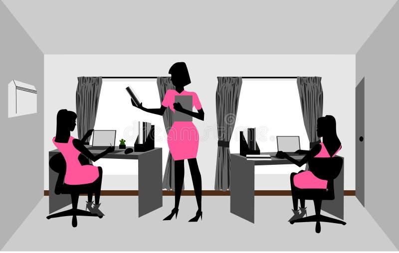 妇女在屋子里工作 向量例证