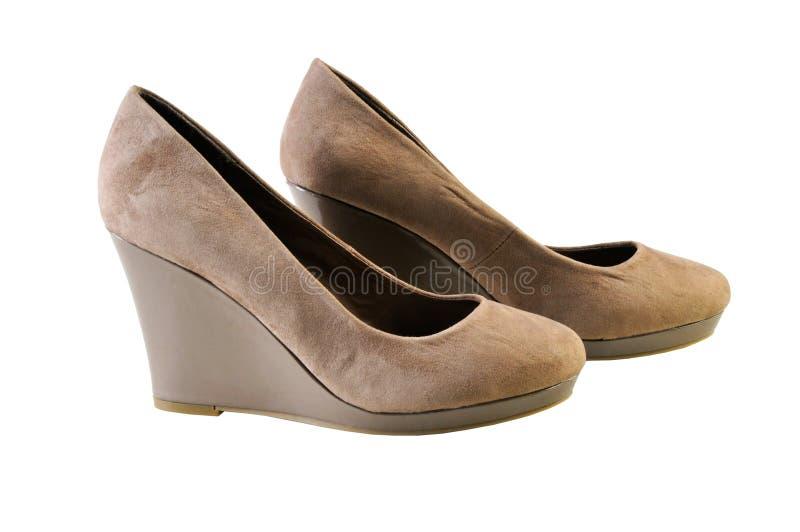 妇女在平台的` s鞋子 查出在白色 免版税图库摄影
