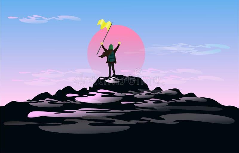 妇女在手上举行在山上面的旗子身分他充满巨大喜悦 有日落背景 皇族释放例证