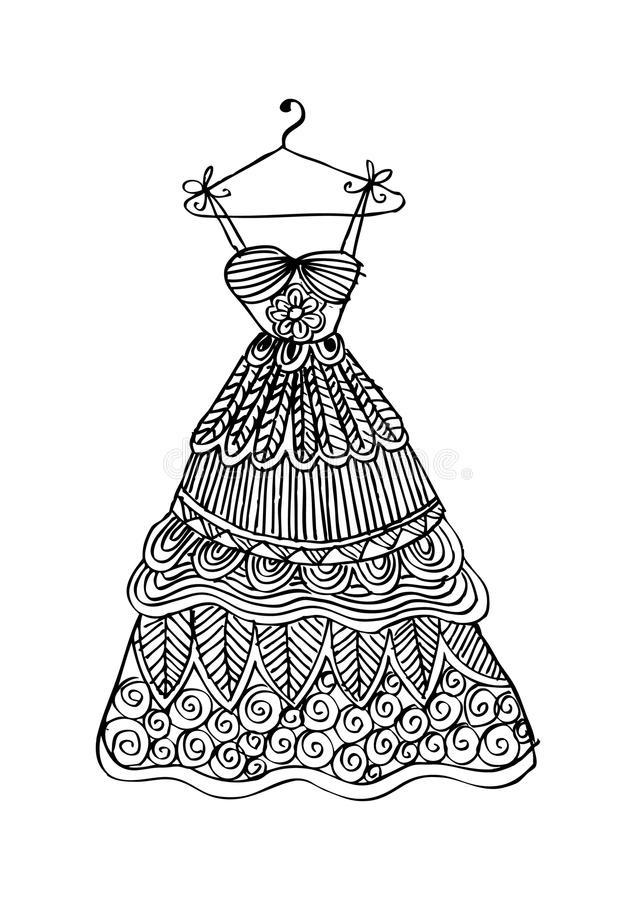 妇女在挂衣架的` s礼服 库存例证