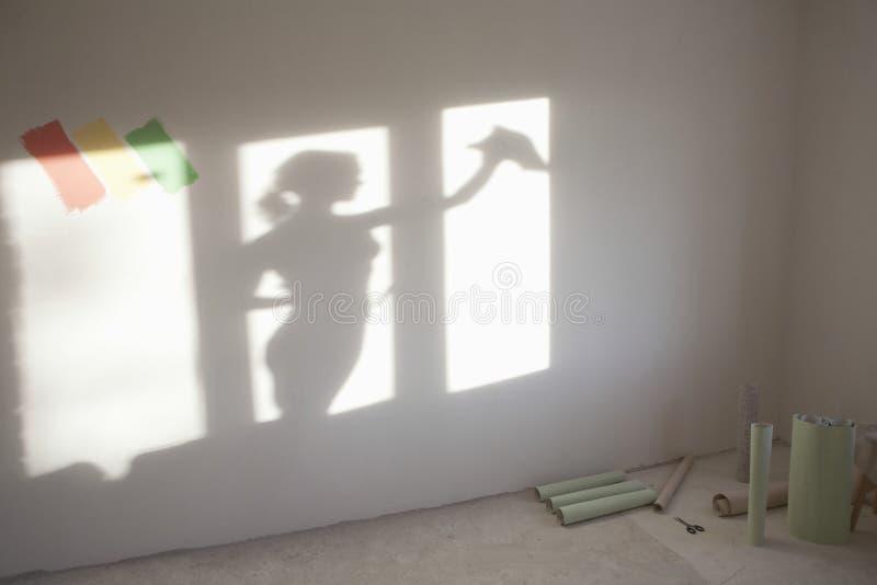 妇女在新的公寓的清洁窗口 库存照片