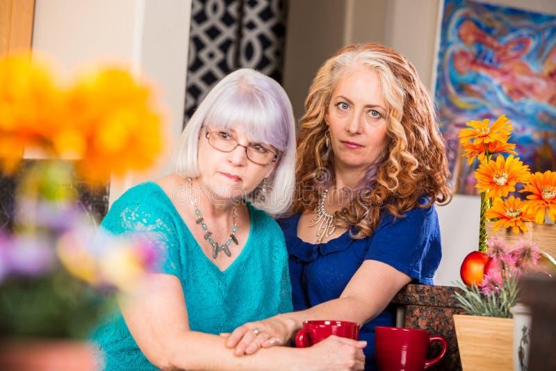 妇女在明亮地色的厨房里慰问朋友 库存图片