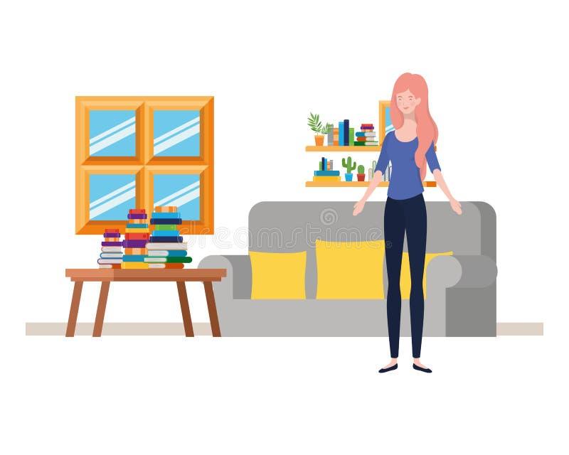 妇女在有书桌和书的客厅 库存例证