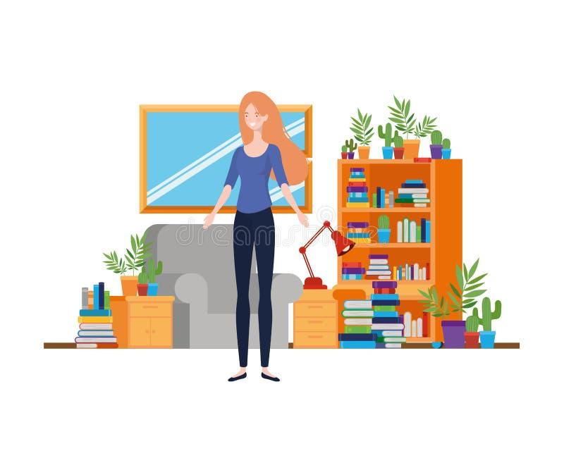 妇女在有书桌和书的客厅 向量例证