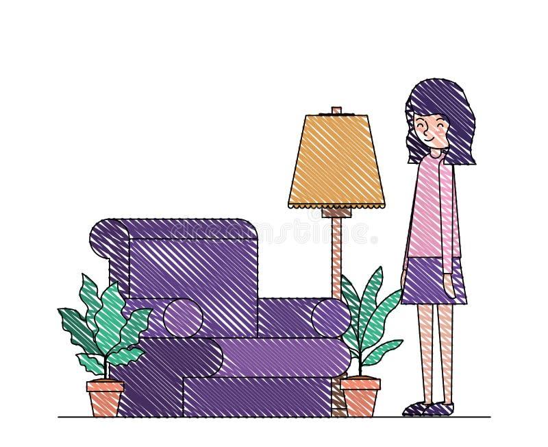 妇女在有室内植物场面的客厅 皇族释放例证