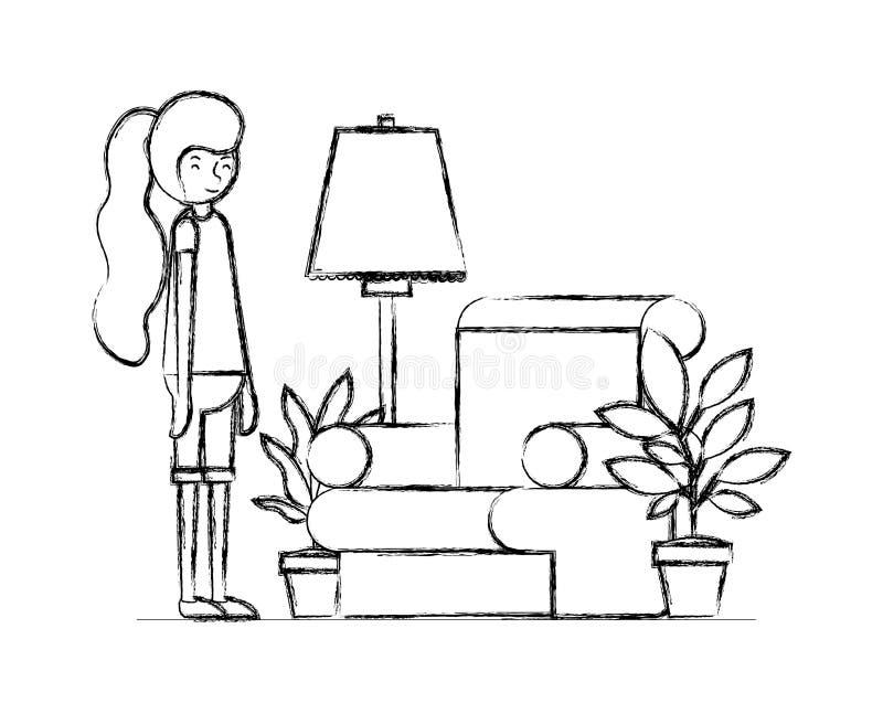 妇女在有室内植物场面的客厅 库存例证