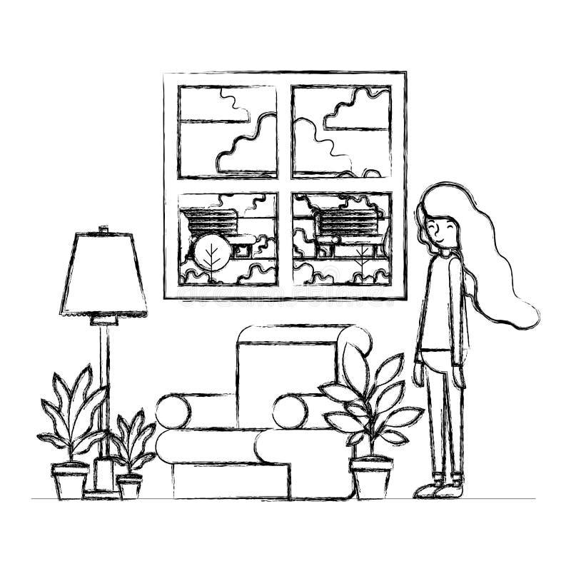 妇女在有室内植物场面的客厅 向量例证