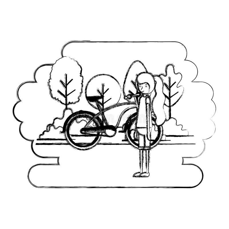 妇女在有自行车的公园 向量例证