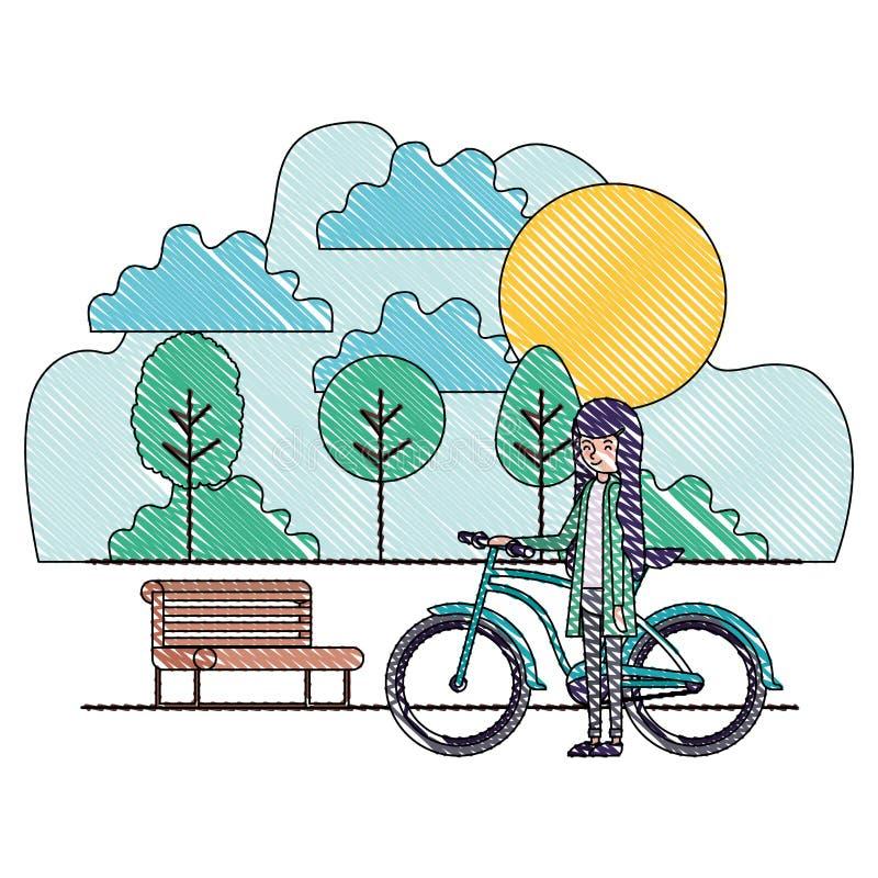 妇女在有自行车的公园 皇族释放例证