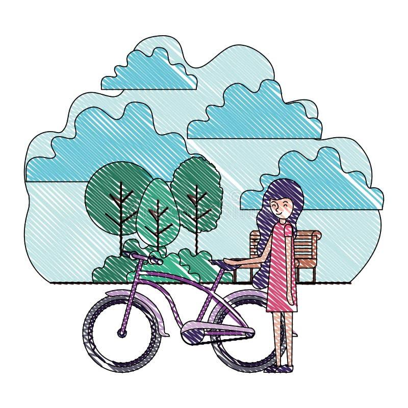 妇女在有自行车的公园 库存例证