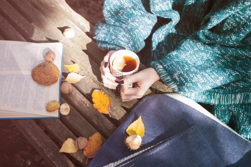 妇女在温暖的秋天编织了拿着杯子茶的衣裳雨披用柠檬 图库摄影