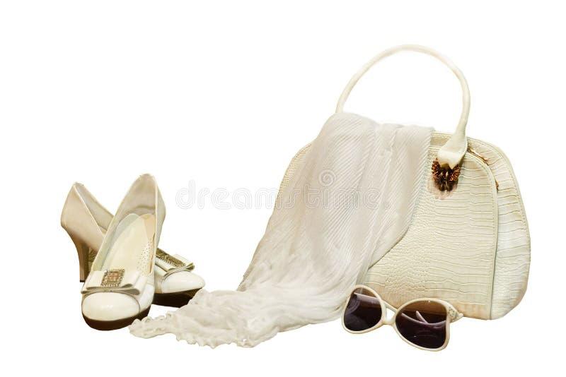 妇女在白色背景的` s辅助部件 与corrug的白色袋子 免版税库存图片