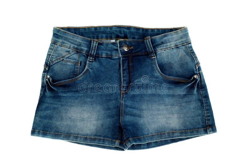 妇女在白色背景隔绝的牛仔裤短裤 库存照片