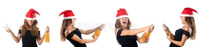 妇女在白色隔绝的圣诞老人 库存照片