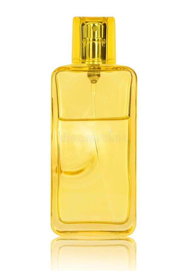 妇女在白色隔绝的透明瓶的` s香水 库存图片