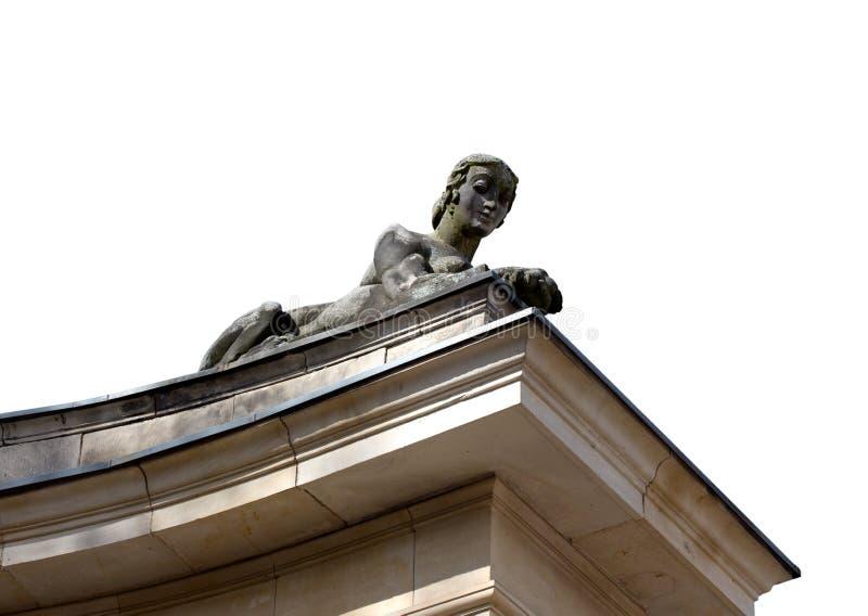 妇女在白色backgrownd的狮身人面象雕塑 免版税图库摄影
