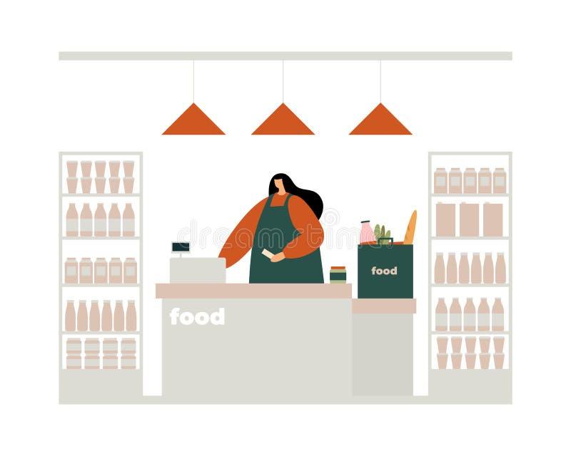 妇女在的出纳员出纳checkout逆拳打产品的付款的一检查 库存照片