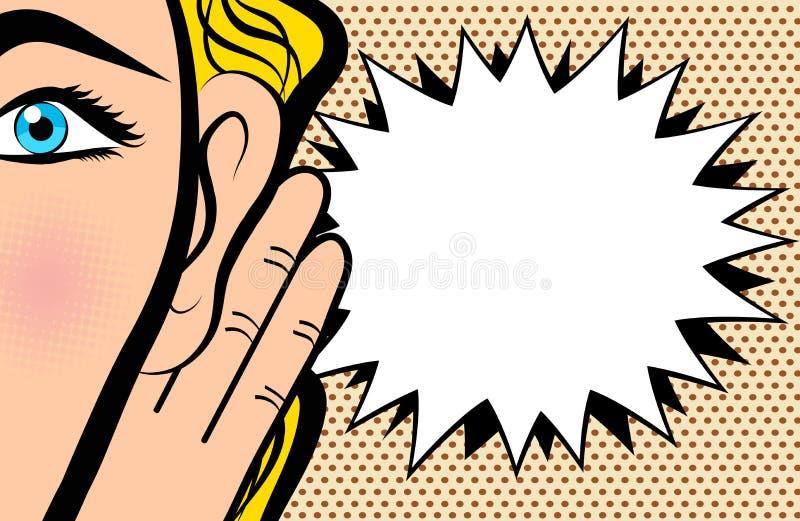 妇女在耳朵附近举行她的手和听在流行艺术可笑的猪圈 向量例证