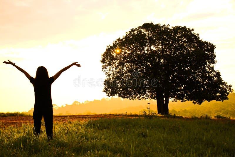 妇女在草甸面孔投入了她的手对日出 免版税图库摄影