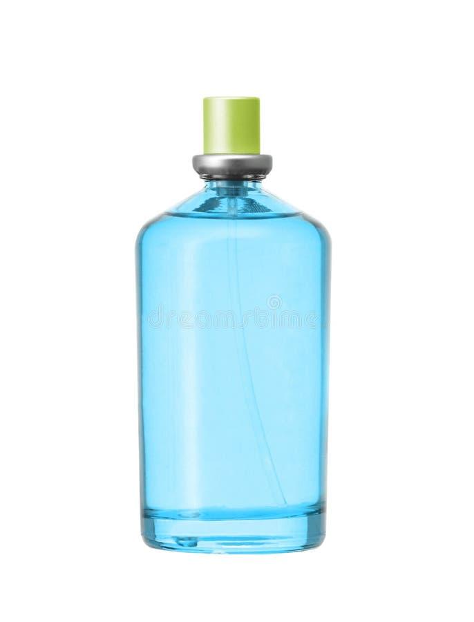 妇女在被隔绝的美丽的瓶的` s香水 免版税库存图片