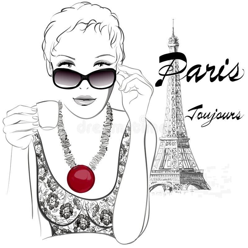 妇女在食用的巴黎接近埃佛尔铁塔的咖啡馆 库存例证